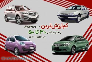 کم ارزشترین خودروهای بازار در محدوده قیمتی ۳۰ تا ۵۰ میلیون تومان!